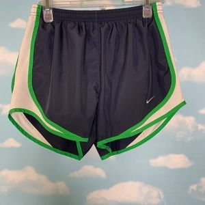 Nike- Running Shorts with Green/White size small